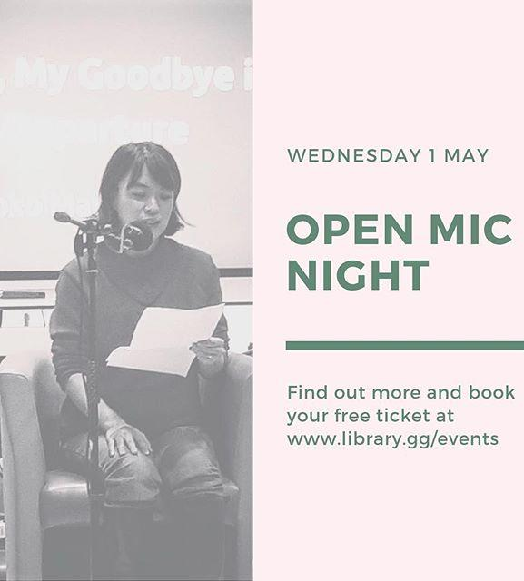 Attention local writers! As part of this years guernseylitfest were hosting a creative writing Open Mic Night on Wednesday 1 May. Read your prose work in front of a friendly audience, and meet other writers and hear them read. Find out more and book your free ticket at www.library.gg/events #guernsey #writing #openmic #amwriting