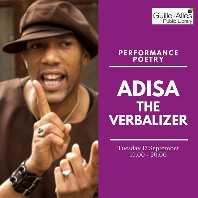 Attention young readers! Coming up this month a special event with acclaimed Londonbased poet Adisa the Verbalizer. With a mouthful of metaphors and so much time for rhymes, Adisa will deliver a highenergy, interactive hour of poetry, involving you in his performance along the way. 19.00 on Tuesday 17 September. Suitable for all secondary school children. Book your FREE tickets at www.library.gg/adisa  #libraries #poetry #poet #adisa #guernsey