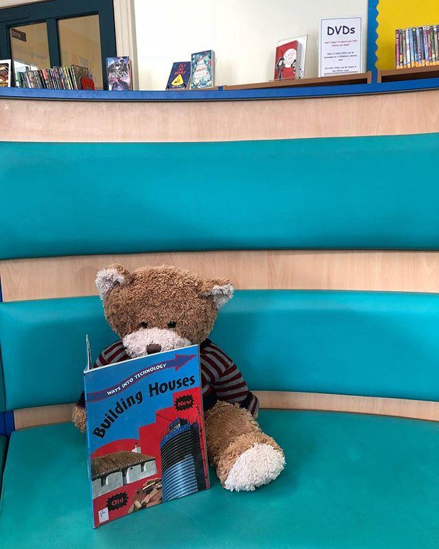 Teddy has decided to help with the #childrenslibraryproject. Step 1 read up about building!