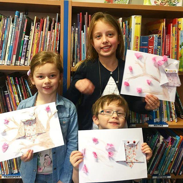 After some blooming good stories we made some Japanese inspired spring crafts. Check out these lovely cherry blossoms and origami owls!