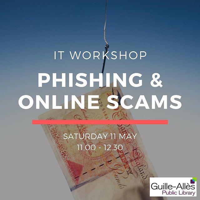 Worried about online scams?At this free IT workshop, find out how to spot phishing emails and protect yourself online. Book your ticket at www.library.gg/events  #phishing #onlinesafety #scams #libraries