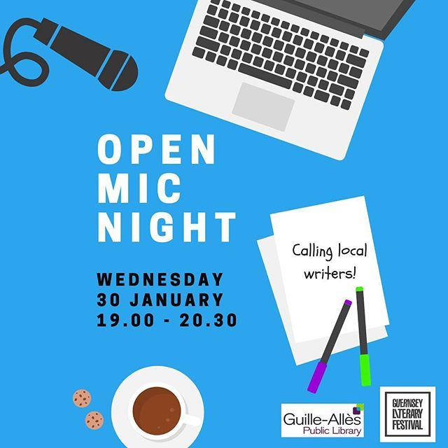 Calling local writers!  Were joining forces with the Guernsey Literary Festival to host a creative writing Open Mic Night on Wednesday 30 January. Read your work aloud in front of a friendly, likeminded audience  a short story, an extract from a novel, or whatever it is youre working on. Meet other writers and get inspired by each other.Book your free ticket at www.library.gg/events and if youd like to read something, send it to us beforehand using the submission form on that page.guernseylitfest #guernsey #writing #amwriting #openmic #creativewriter