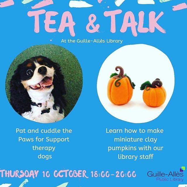 Tea amp Talk is happening this Thursday to mark World Mental Health Day  Did you know that petting and being around dogs reduces stress and anxiety? The lovely Paws for Support dogs will be around for a cuddle You can also so a bit of crafting with your cup of tea
