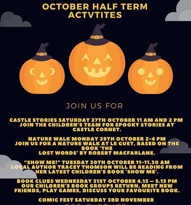 With halfterm creeping up on us take a sneaky peep at the childrens events on offer! 27 Oct Storytelling at guernseymuseums Haunted Castle 11am and 2pm 29 Oct #TheLostWords Nature walk at Le Guet 24pm 30 Oct Show Me! by traceythomson.writer 1111.3031 Oct Chatterbooks and Book Brains book groups 4.145.15 3 Nov  halloweencomicfest with heroesandlegendsuk free comics!
