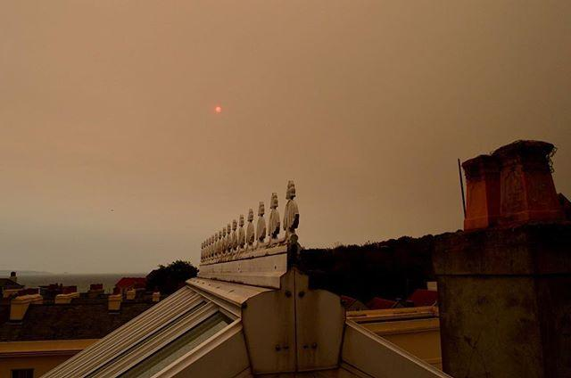 A very portentous sky over the Library this morning. Weve got lots of apocalypse fiction on the shelves if you want to stock up!#sky #redsky #sun #guernsey #channelislands #ophelia