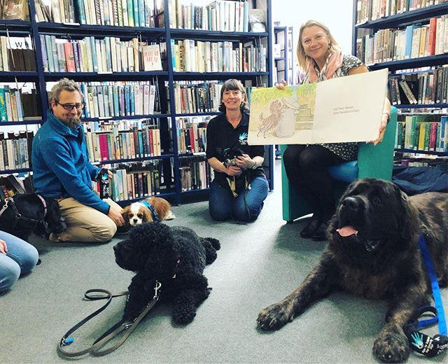 Schnitzel von Krumm with a very low tum, Bitzer Maloney all skinny and bony, Muffin McLay like a bundle of hay, Bottomley Potts covered in spots, Hercules Morse as big as a horse...and Hairy Maclary from Donaldsons Dairy...Its story time for dogs at the Library this morning!  Weve been loving a visit from charity Paws for Support, who use their highly trained therapy and assistance dogs to improve peoples lives in Guernsey. You can find out more about what they do at www.pawsforsupport.co.uk#dogs #therapydog #guernsey #storytime