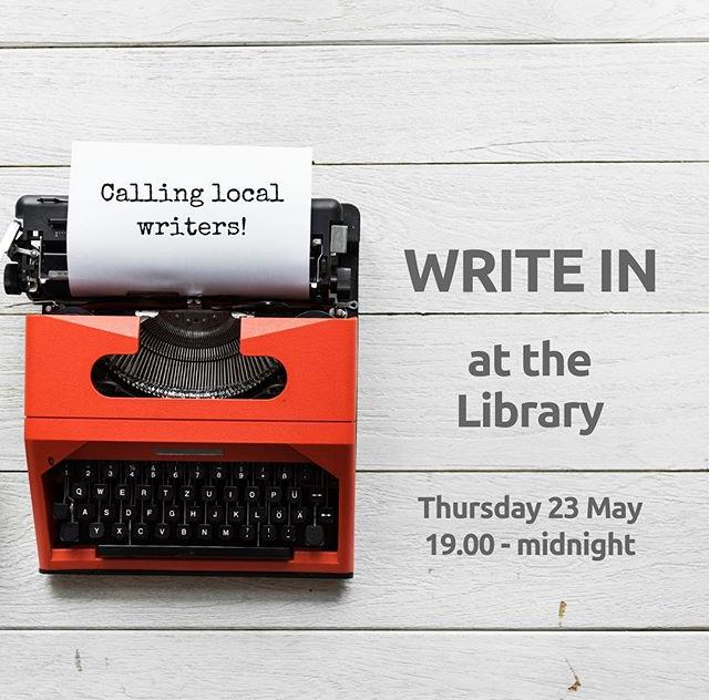 Attention local writers! On Thursday 23 May, join us after hours for a Write In at the Library. You bring your laptop, we provide WiFi, snacks and drinks. Whatever youre working on, all writers of all ages are welcome. Find out more and book your free ticket at www.library.gg/events #writing #amwriting #writein #writer #libraries
