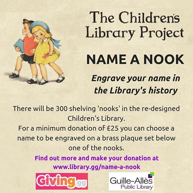 Want to be part of the Librarys history? As part of our fundraising for the Childrens Library Project, were giving you the chance to engrave your name in our history by naming a nook Find out more, make a donation and name your nook at www.library.gg/nameanook#libraries #childrenslibrary #guernsey #childrenslibraryproject