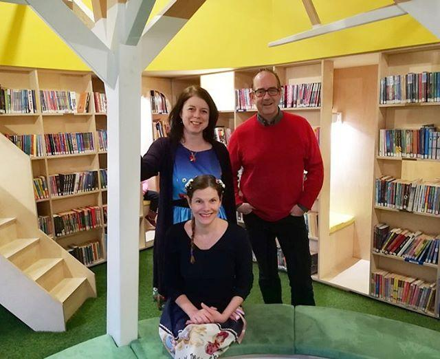 Great to see this years visiting authors Jo Cotterill, officialrosswelford AbieLongstaff enjoying the story circle in our wonderful new Childrens Library! Well done to everyone at slsguernsey for organising another successful Book Week!