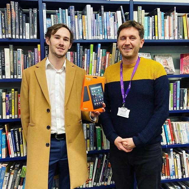 Congratulations to Owen Stubbs, the lucky winner of our Late Night Library competition Everyone who borrowed a book during evening opening in October was entered into a prize draw to win a brandnew Amazon Fire tablet  and Owens name came out the hat. The evening opening is great, he says. Its really convenient to pop in after work, browse for new books and use the space to study for my exams. Late Night Library continues tonight, and every Tuesday and Thursday. Join us to borrow books, study, read, play games, and enjoy the evening atmosphere   #libraries #latenightlibrary #guernsey #study