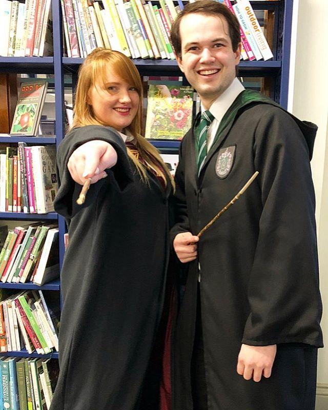 Thanks to #HarryPotter superfans Morgan and Adam for bringing some Hogwarts magic back to the library!